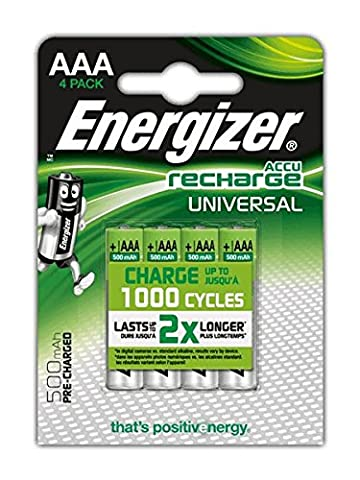 Energizer 4 piles AAA universelles rechargeables 500 mAh