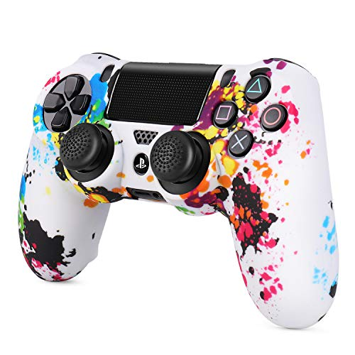 TNP PS4 / Slim / Pro Controller Skin Grip Cover Case Set - Protective Soft Silicone Gel Rubber Shell & Anti-slip Thumb Stick Caps for Sony PlayStation 4 Controller Gaming Gamepad (Splash)