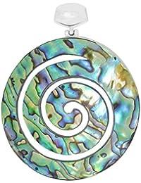 ERCE Paua/ Abalone Muschel Anhänger Spirale, 925 Sterling Silber, Länge 6 cm im Geschenketui