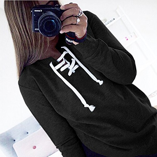 Chouette Sweater Femme Manches Longues Bandeaux Sweatshirts Pullover Hiver Automne Sexy Casual Sport Noir