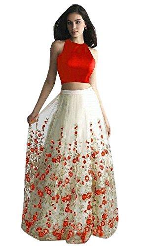 Vaankosh Fashion Women's Net Embroidered Latest Collection Skirt/Lehenga (Orange)