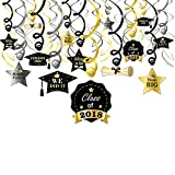 Konsait Graduation Hanging Decorations Swirls, Graduation Party Supplies 2018 | Graduation Wishes | Mortarboards | Diplomas Hanging Ceiling Graduation Decorations for School Prom Grad Party, 30pcs