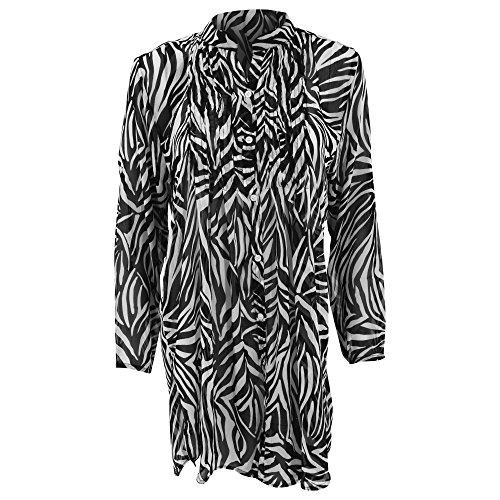 2 Button-up-shirt (Damen Button Up Chiffon Cover Up Beach Shirt Zebra Print (M (40/42DE - 14/16UK)) (Zebra Print))