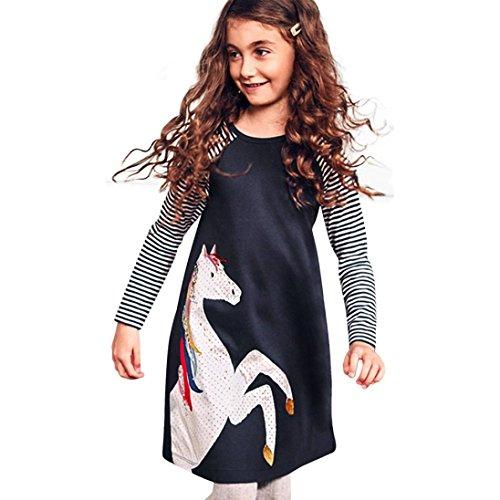Kleid Mädchen, HUIHUI Toddler Mädchen Kleid Pferde Streifen Drucken Lange Ärmel Sommerkleid Party Prinzessin Dress Casual T-shirt Kleid Frühlings Herbst Cocktailkleid (110 (2-3Jahre), Marine) (Mädchen Langarm-pferde)