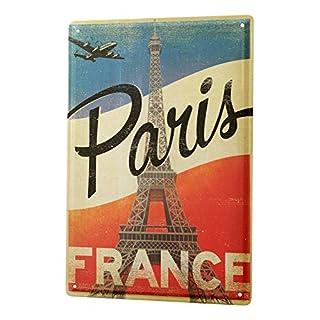 Blechschild Stadt Deko Paris Frankreich Metallschild 20X30 cm