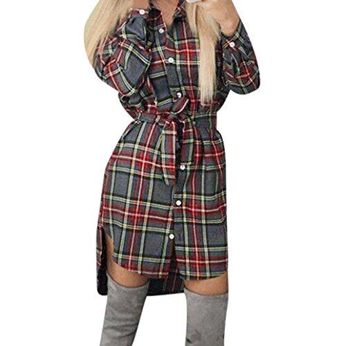 Longra Damen Kariertes Kleid Langarmshirt Hemdkleid Shirtkleid Blusenkleid Kleid Mit Gürtel Damen Mode Streetwear Oberteil Button Cardigan Bluse Frauen Asymmetrische Tunikakleid Knielang (Gray, L)