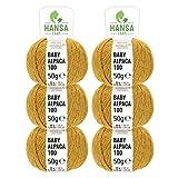 100% Alpakawolle in 50+ Farben (kratzfrei) - 300g Set (6 x 50g) - weiche Baby Alpaka Wolle zum Stricken & Häkeln in 6 Garnstärken - Rot