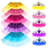 VAMEI Tutu niña, 10pcs Princesa de niña de Lentejuelas Falda y Crystal Tiara Crown Set Sparkling Kid Dress-up Faldas de Tul de Tutu Girl Outfits Accesorios de Fiesta - 5 Colores