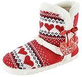 Da donna cuori a maglia pelliccia foderato pantofola stivali RED HEART Small