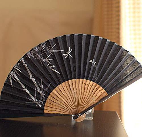 Yowinlo Faltfächer Hand Fächer Japanische Faltfächer Bambus Griff Fan Tuch Fan Geschenk Fan Männlich Fan Bambus 蜻蜓 - Asiatische Kostüm Männlich