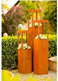 Ruggine Fiore Torre per piante 20cm x 110cm–Vaso cilindrico in acciaio ruggine (Misura Media)