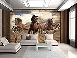 FORWALL Fototapete Vlies Tapete Moderne Wanddeko Pferde im Galopp auf Holzplanken VEXXL (312cm. x 219cm.) AMF10083VEXXL