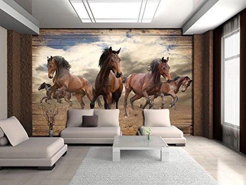 FORWALL Fototapete Tapete Pferde im Galopp auf Holzplanken P4 (254cm. x 184cm.) Photo Wallpaper Mural AMF10083P4 Gratis Wandaufkleber Natur Tier Tiere Fauna Pferd Pferde Galopp