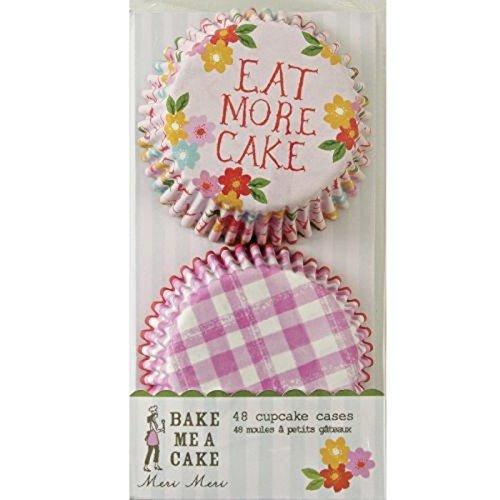 """Meri Meri 45-0617 Cupcake Form, 48 Stück, 5,2 cm Bodendurchmesser, Papierförmchen, 2 verschiedene Muster (rosa-weiß kariert und Blumen auf rosa Hintergrund mit """"Eat More Cake""""-Aufschrift)"""