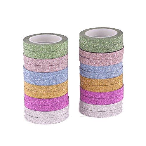 AGU 6mm breit Skinny Glitter Sparkle Washi Tape für scrabooking DIY und Weihnachten Geschenk Geschenkpapier (24Stück)