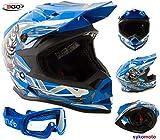 CASCO MOTOCROSS PER BAMBINO 3GO X10-K ENDURO ATV MX BMX QUAD ECE OMOLOGATO FUORISTRADA RAGAZZI RAGAZZECASCHI BLU CON OCCHIALI (L (51-52 CM))