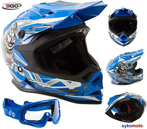 3GO X10-K MOTOCROSS OFF ROAD ATV QUAD ENDURO BMX MTV PATIO ECE HOMOLOGADO MONTAÑA CASCO DE NIÑOS AZUL CON GAFAS (XL (53-54 CM))