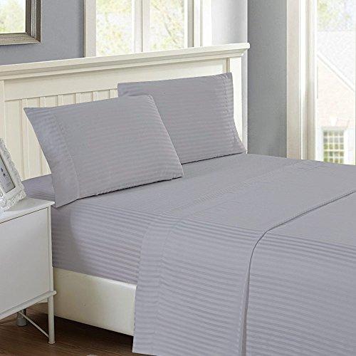 Rajlinen 1Bed Sheet Set-100{48dbca53721d6a9c59b7911344e743eff99dd6d828595a8c4b2449dd29a45d5f} Baumwolle-Fadenzahl 8004Teilig-Luxus Bedding-BestSeller- Super Verkauf Deep Taschen Falten & farbbeständige, von Twin Light Grey Stripe