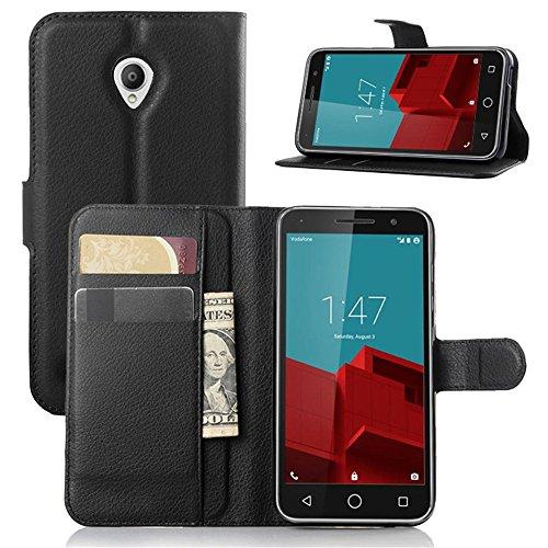 Funda Vodafone Smart Prime 6 Case,Vikoo Flip Cover Tapa de Cuero de La PU Case de la Cartera con Ranuras para Tarjetas Incorporadas Carasa para Vodafone Smart Prime 6 Smartphone Cover - Negro