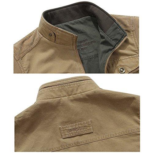 Herren Outdoor-Fotografie Camping Jagd Angeln Weste Multi Pocket Mantel Jacke Baumwolle Westen Jacken Outdoorweste AB Oberfläche Größe S-6XL Stil-1 Khaki