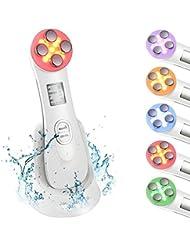 Dispositif de beauté ultrasonique, 5in1 dispositif multifonctionnel de beauté faciale, 6 modes Appareil de massage de mésothérapie de machine de beauté de LED, ION Photon Soins de la peau pour le corps et le visage, Anti Rides Anti-vieillissement peau d'acné Resserrement pour le rajeunissement de la peau