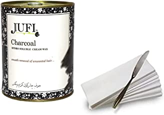 jufi charcoal cream wax for hair remover (800gm) waxing strips,1 waxing knife