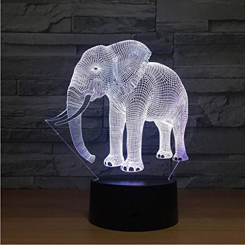 Dianer Birthday Gift Night Lights Ivory Elephant 3D Usb Led Night Lights Novelty Led Animal Lamp 7 Colorful Changing Led Touch Table Lamp Ivory Night Light