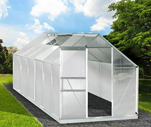 Gewächshaus Aluminium mit Stahlfundament 15,1 m³ Alu Gartenhaus Treibhaus 380x250x205cm 6mm...