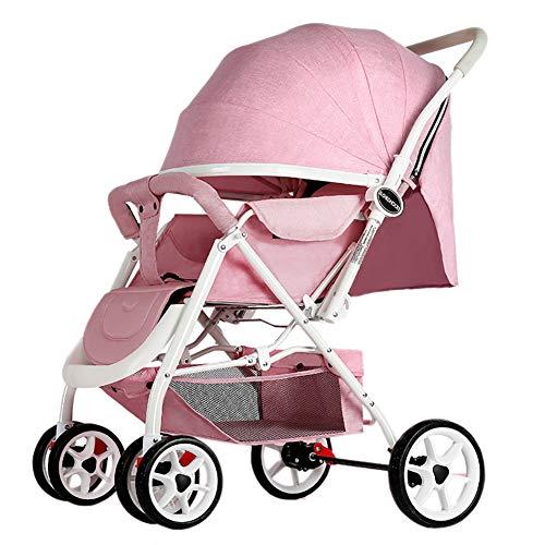 Yhz@ Cochecito de bebé Ligero Portable High Landscape Puede Sentarse y acostarse Plegable Simple Handle Reversible Suspension Neonatal Buggy Baby Trolley Sillas de Paseo (Color : Pink)