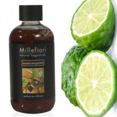 Millefiori 7RESB Sandalo Bergamotto Nachfüllflasche 500 ml für Raumduft Diffuser Natural, Plastik, Braun, 9 x 6.8 x 17.7 cm -