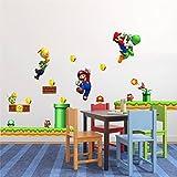 Super Mario Bros adhesivo de pared niño decoración de arte de la pared Tamaño Grande Juego de Mario Luigi Yoshi Tema para pared de dormitorio sala de juegos decoración Peel & Stick