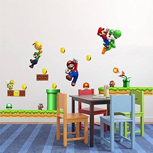Stickermi Adhesivo mural decorativo, diseño infantil de Super Mario Bros, Luigi y Yoshi