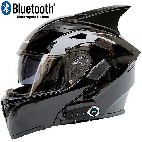 CAKUI Heller schwarzer Neuer Motorrad-Bluetooth-Helm, Erwachsener doppelter Funktionsstimmvollvisierhelm, mit FM und Sprachnavigation, Punkt-Bescheinigung,XXL63~64cm