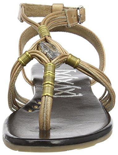 xyxyx Sandal, Scarpe Col Tacco con Cinturino a T Donna Oro (Gold (tan/black))