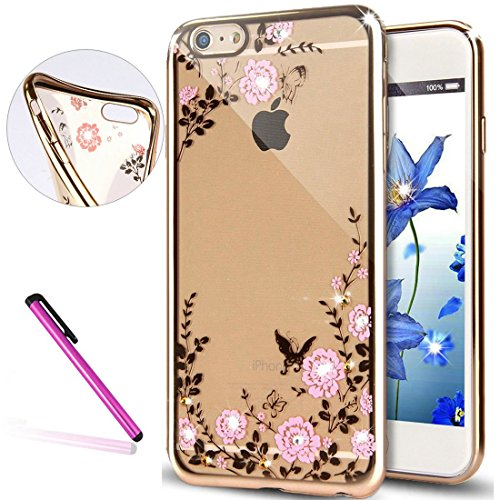 iPhone 6S Coque Silicone,iPhone 6S Coque Bling,iPhone 6S Coque en Silicone Placage Bling Diamant Coque Clair,EMAXELERS iPhone 6 / 6S Silicone Case Silver Slim Soft Gel Cover with Diamond,iPhone 6S Bli Butterfly Flower Series 1