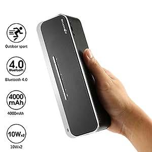 Bluetooth Lautsprecher 20W - BlitzWolf Bluetooth 4.0 Lautsprecher Kraftvoll Bass Tragbarer Lautsprecher Mobiler Stereo Wireless Speaker Bluetooth Box Boombox mit Microphone, AUX Input für iPhone, iPad, Samsung, Nexus, Sony HTC und andere Android Geräte (Schwarz)