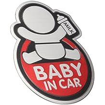 Pegatina coche bebe a bordo reflectante auto.adhesiva resistente al agua color rojo de OPEN BUY