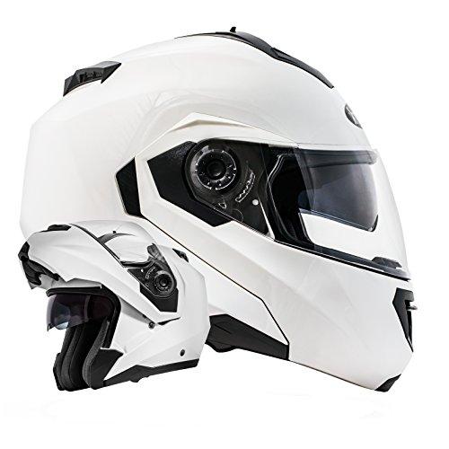 ATO-Moto Montreal Weiß Größe S 55-56cm Klapphelm mit Doppelvisier System und der neusten Sicherheitsnorm ECE 2205