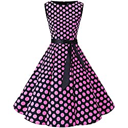 Bbonlinedress 50s Vestidos Vintage Retro Rockabilly Clásico Black Pink Big Dot L