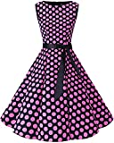 bbonlinedress 50s Retro Schwingen Vintage Rockabilly Kleid Faltenrock Black Pink Big Dot 2XL