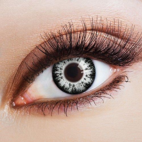 aricona Farblinsen Manga & Anime Kontaktlinse Brilliant in grau -Deckende,farbige Jahreslinsen für dunkle und helle Augenfarben ohne Stärke,Farblinsen für Cosplay,Karneval,Fasching,Halloween ()