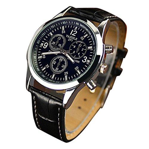 Fower&YY Orologio con cinturino in ecopelle, vetro Blue Ray, al quarzo, analogico, da uomo (orologio da polso)