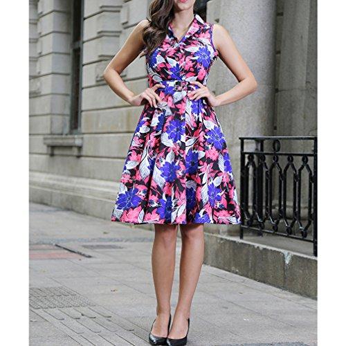 Honghu Damen Sommer Casual ärmellos Druck Knielang Plissee Printing Party Taille Kleid Rot