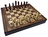 POKER CHIP SHOP CLASSIC CHESS SET BOARD AND MEN WITH FOLDING COMPARTMENT TO STORE PIECES