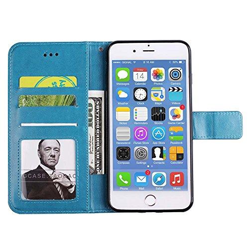 Custodia iPhone 8 Plus[Protezione Libera dello Schermo], ESSTORE-EU Premium Portafoglio Protettiva Cover Custodia, Retrò Mandala Flip Wallet Case Custodia in Pelle per Apple iPhone 8 Plus (2017) - Con Blu