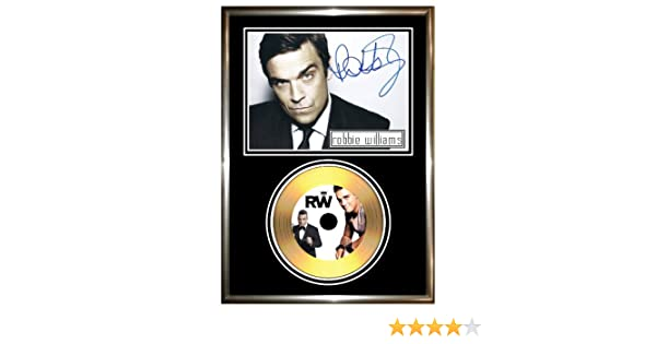 ROBBIE WILLIAMS - SIGNED FRAMED GOLD CD & PHOTO DISPLAY: Amazon.co ...