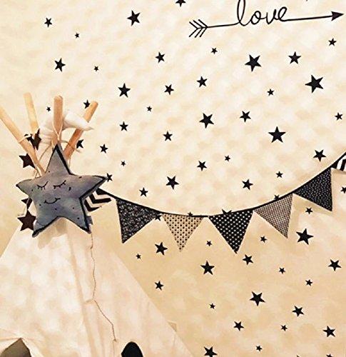 WandSticker4U®- Wandtattoo 50 Sterne zum kleben | schwarz/ silber/ gold | Wandsticker Sternenhimmel Wandbild Aufkleber Deko für Babyzimmer Kinderzimmer Schlafzimmer Flur Möbel Wohnaccessoires (A. Sterne: schwarz) (Tv-element 50)