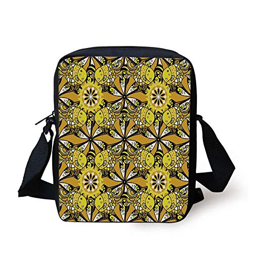 CBBBB Yellow Mandala,Ethnic Cute Fish Figures with Hearts and Daisies Round Ritual Symbol Tile Decorative,Multicolor Print Kids Crossbody Messenger Bag Purse