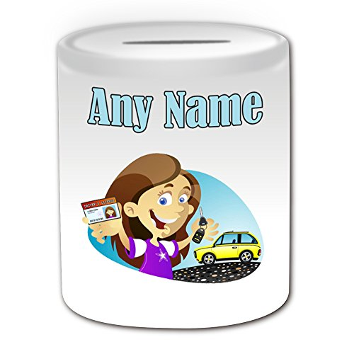 Personalised Gift - Driving License Girl Money Box (Occasion Design Theme, White) - Any Name / Message on Your Unique - Lesson Congratulations Car Keys Pass Test School L P Plate Learner (Law School In A Box)