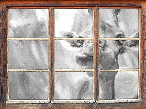 Giraffe nature effet de charbon de l'art Fenêtre en 3D look, mur ou format vignette de la porte: 62x42cm, stickers muraux, sticker mural, décoration murale